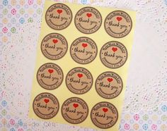 24 units of Handmade with Love stickers. Cookie by pingosdoceu