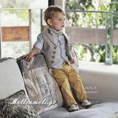 "Dolce Bambini - Βαπτιστικό για αγόρι ""Leonardo"", κωδ. 2530 Vest, Jackets, Fashion, Down Jackets, Moda, Fashion Styles, Fashion Illustrations, Jacket"