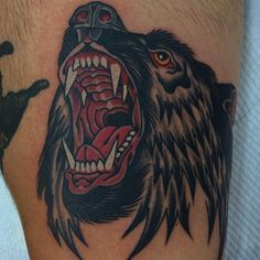 Done by Daniel Octoriver @octoriverdaniel #goodlucktattoomelbourne #danieloctoriver #oldschool #tattoo #bear