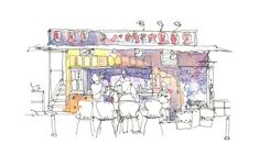 "Takoyaki in Harajuku- Architectural sketch in watercolor and ink - 8.5""x5.5"" print"