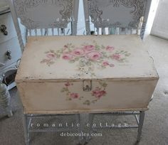 SOLD Shabby Romantic Roses Vintage Trunk