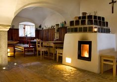 Waterbearing tiled stoves by Brunner Interior Architecture, Interior And Exterior, Cosy, Stove, Home And Garden, Indoor, Lights, Home Decor, Ideas
