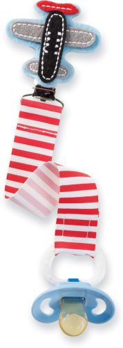 Mud Pie pacifier clip for baby boys featuring a felt airplane, and a red striped grosgrain ribbon. $5.99   Mud Pie at In Fashion Kids