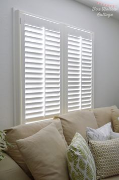 Norman Woodlore Plantation Shutters from Blinds.com are the perfect upgrade from old plastic mini blinds.