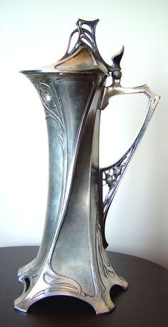 "Art Nouveau, Wine Jug, WMF, ""Old Silver"", E. Bakla collection. Art Nouveau Interior, Wmf, Belle Epoque, Love Art, Blue Bird, Metallica, Ariel, Antique Silver, Beautiful Things"