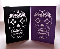 Sugar Skull Card  Papercut Blank with Envelope  by ChibiChiDesigns, £4.00