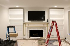 Bookcase entertainment center plans built in bookcase with desk Built In Around Fireplace, Fireplace Built Ins, Brick Fireplace, Fireplace Design, Basement Fireplace, Fireplace Bookshelves, Fireplace Remodel, Fireplace Ideas, Fireplace Surrounds