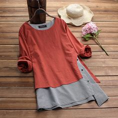 Plus Size Women Linen Blouse 2019 Spring Casual Patchwork Tunic Tops Female Check Femme Asymmetrical Blusas Button Shirt Chemise Vestido Casual, Fashion Moda, Fashion Women, Long Sleeve Tunic, Casual Tops, Plus Size Women, American Apparel, Latest Fashion Trends, Blouses For Women