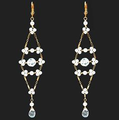 White Pearl and CZ Beaded Long Drop Earrings | Liza Shtromberg Jewelry