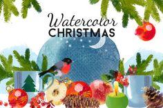 Watercolor Christmas by Tatiana_davidova on @creativemarket