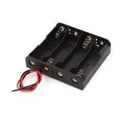 Two-Wires Black Plastic Battery Holder for 4 x 1.5V AA Size Batteries * You can find out more details at the link of the image.