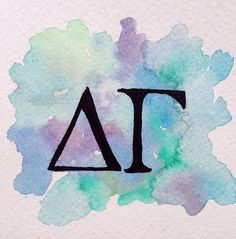 Delta Gamma Letters Watercolor Painting by PaintingsbyPearl
