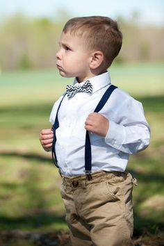 c4ee8b7dd4f6 Chevron Navy Blue Bow Tie with matching navy suspenders with tan pants.  This is what I want my little ring bearer to be wearing!