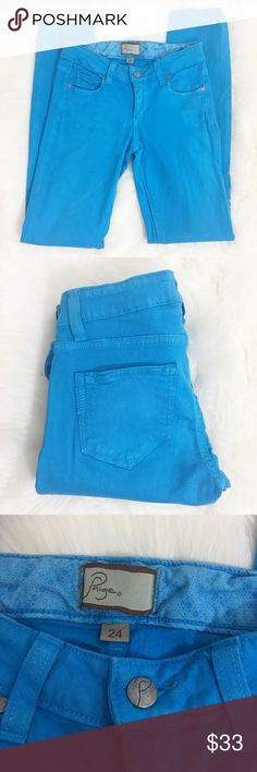 Paige Peg Skinny Jeans These jeans have a 29 inch inseam. They are 98% cotton and 2% spandex. The Jeans have great stretch. Paige Jeans Jeans Skinny