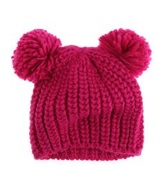 Electric Pink Double Pom-Pom Beanie no pattern but great idea Knitting For Kids, Baby Knitting, Crochet Baby, Knit Crochet, Crochet Things, Clothing Subscription Boxes, How To Purl Knit, Christmas Gifts For Kids, Pom Pom Hat