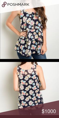 Navy floral tiered top! Taking down!! Gorgeous floral pattern in summer colors - tiered ruffle front! Oddy Tops Tank Tops