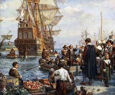 Pilgrim Fathers boarding the Mayflower for their voyage to America. After painting by Bernard Gribble. Get premium, high resolution news photos at Getty Images Saints And Strangers, Facts About America, Pilgrim Fathers, Vintage Thanksgiving, May Flowers, Early American, American Art, Native American, Preschool Activities