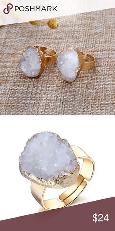 Resizable Druzy Ring Cute white Druzy ring. Made of alloy metal and epoxy. Brand new, comes sealed in mfg packaging. #10162701 Jewelry Rings