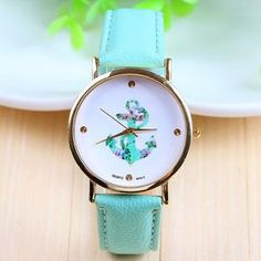 Anchor print face leather girl watch
