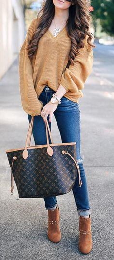 #outfit #ideas · V-neck Oversized Sweater // Skinny Jeans // Camel Suede Ankle Boots // Large Tote Bag