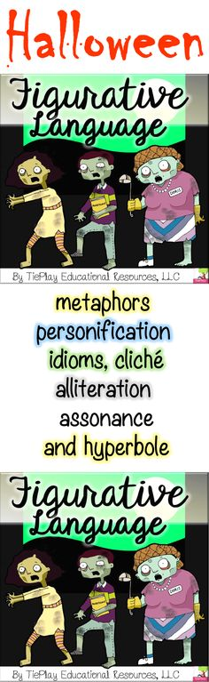 Halloween Figurative Language Similes Metaphors Hyperbole Idioms Cliches No Prep - Is figurative language learning haunting your class? Well, these zombies are out of the bag with Ha - Teaching Materials, Teaching Resources, Elements Of Literature, Figurative Language Activity, Similes And Metaphors, Alliteration, Learning Tools, Idioms, Math Lessons