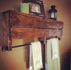 Rustic pallet Towel rack/shelf!