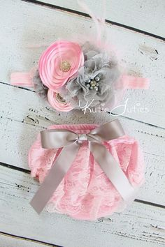 Pink and Gray Lace Diaper Cover and Headband Pink by KutieTuties, $41.95
