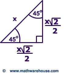 Special Right Triangles Formulas. 30 60 90 and 45 45 90 special right triangles Examples, Pictures and interactive applet