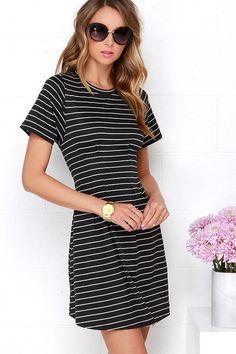 Solange Black Striped Dress at Lulus.com!