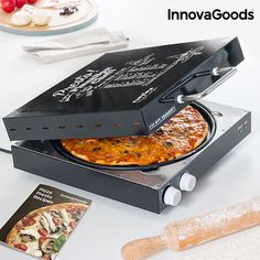 Easily prepare homemade pizzas quickly and conveniently with the new InnovaGoods Kitchen Chef electric pizza box Presto! with recipe book! You will enjoy delicious pizzas made to your taste with healthier and more natural ingredients. Pizza Kitchen, Kitchen Oven, Kitchen Items, Kitchen Gadgets, Pizza Legal, Electric Pizza Oven, Chefs, Cooking Time, Gourmet