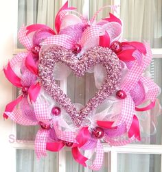 Valentine Screen Door Wreath Pink White