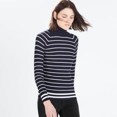 Zara Striped turtleneck sweater NWT.sold out !no longer available,                      viscose 70% ,nylon 30%.size M Zara Sweaters Cowl & Turtlenecks