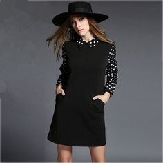 Euro Style 4XL Plus Size Women Black Dress Autumn Winter Vestidos Long Sleeve Casual Loose Dot Dress Roupas Femininos 51440