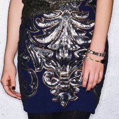 Francesca's Raquelle Sequin Skirt Sparkly, shimmery, & perfect for the holidays! The Raquelle Sequin Skirt features a sparkling sequin design all over a navy mini skirt. NWT Francesca's Collections Skirts Mini