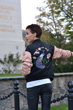 leather trousers,bomber jacket