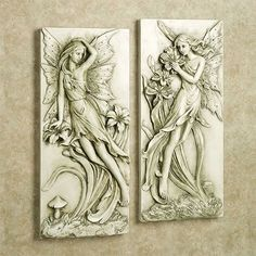 Add an element of enchantment to your decor with the beautiful polystone Fairies in the Garden Indoor/Outdoor Wall Art Set. Each light almond wall plaque has a moss wash and features a delicate, winged fairy enjoying the garden vines and blossoms. Best Wood For Carving, Wood Carving, Outdoor Wall Art, Outdoor Walls, Indoor Outdoor, Carved Wood Wall Art, Wood Art, Sculpture Art, Sculptures