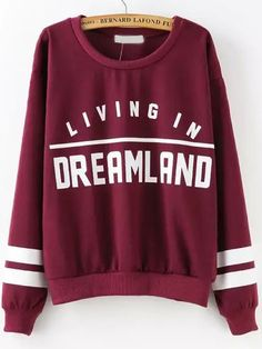 Wine Red Round Neck Patterns Letters Print Sweatshirt, 35% Off for New Sign Up