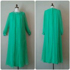 Vintage 1970s Green Maxi Dress Chiffon 70s Green by RackedVintage