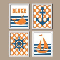 Nautical Boy Girl Wall Art Nursery Canvas Artwork Child Name Navy Blue Orange Monogram Sailboat Sea Anchor Wheel Ocean Set of 4 Prints