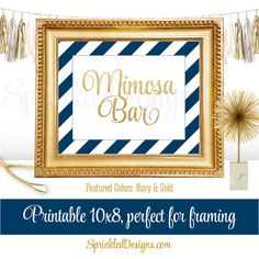 Mimosa Bar Party Sign - Navy Blue and Gold Glitter Birthday Baby or Bridal Shower Decorations - Monograms and Mimosas Party Decorations by SprinkledDesigns.com
