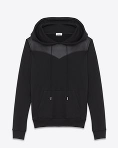 SAINT LAURENT LEATHER YOKE HOODED SWEATSHIRT IN BLACK FRENCH TERRYCLOTH AND LEATHER