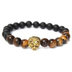 Tiger Eye Stone Matte Plastic Beads Lion Head Bracelet For Men sold out - Banggood Mobile