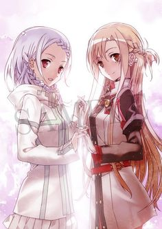 Sword Art Online Ordinal Scale Asuna and Yuna Sword, Sword Art Online Asuna, Kawaii, Online Art, Art, Online Anime, Anime, Anime Characters, Fan Art
