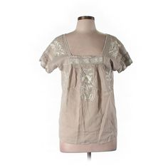 Pre-owned J. Crew Short Sleeve Blouse Size 11: Beige Women's Tops ($25) ❤ liked on Polyvore featuring tops, blouses, beige, j.crew blouse, short sleeve tops, beige top, short-sleeve blouse and brown tops