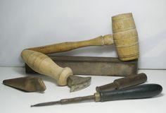 Vintage 6 Tolls for Leatherworking - Hatter Tools - Vintage Shoemaker Tools