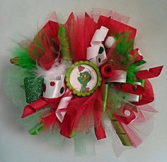The Grinch Christmas Hair Bow Boutique Hair by TheJMarieBoutique, $9.99
