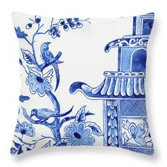 Blue And White Living Room, Blue And White Pillows, Blue And White Fabric, Blue And White China, White Pillow Covers, Decorative Pillow Covers, Couch Pillow Arrangement, Monogram Bedding, Chinoiserie Fabric