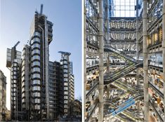 Richard Rogers, Lloyd's Building, Londres, 1986 © Richard Rogers À gauche : vue extérieure À droite : vue intérieure