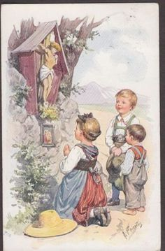 X2871 Feiertag postcard, BKWI 811-2, Used, Stations of the Cross, Children: