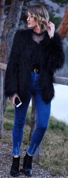 #winter #fashion /  Black Faux Fur Coat + Lace Top
